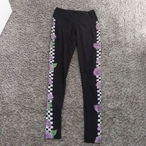 Black checkered yoga pants with purple roses